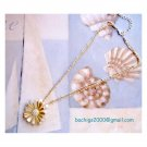Daisy two tone flower pendant on triple chain - NEW
