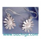 Matt Silver daisy earrings - NEW -