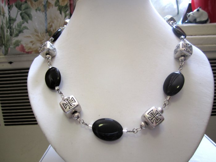 OOAK Oval onyx beads accented by silver cross squares made in USA - fashion necklace