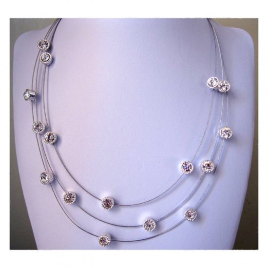 Three rows silvertone crystals fashion necklace