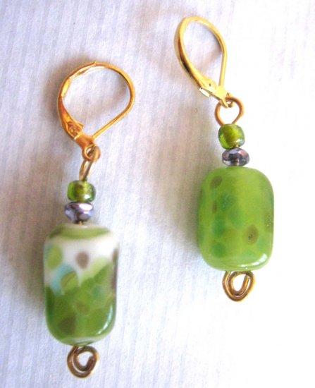 Green lampwork glass drop fashion earrings {16E}