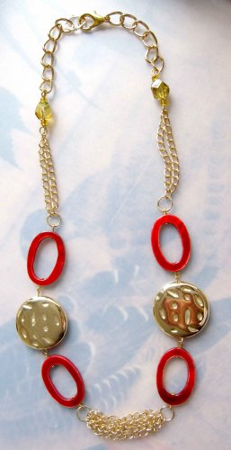 Red oval mother of pearl gold chains necklace OOAK