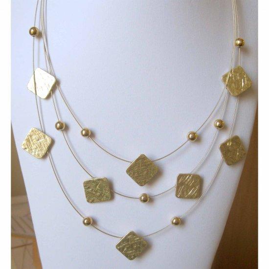 inv -Square matt gold three rows trendy fashion necklace