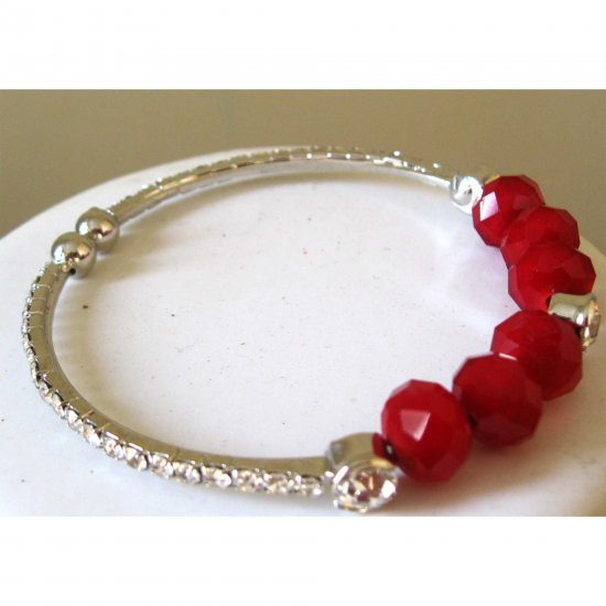 Red cuff fashion bracelet with crystals fashion jewerly gift