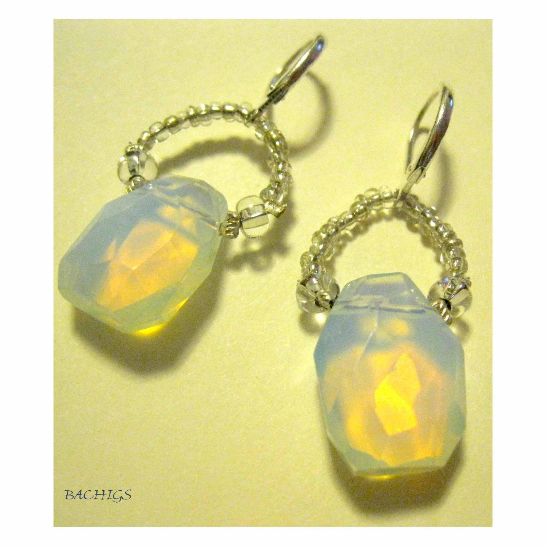 Opalite beaded fashion designer earrings on lever back earwires