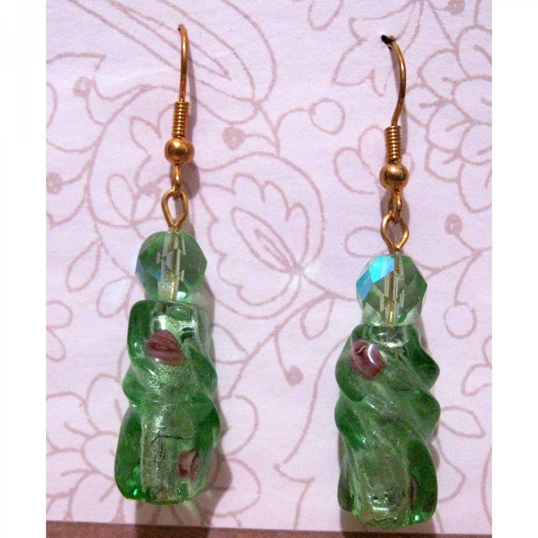 Green lampwork glass drop fashion earrings