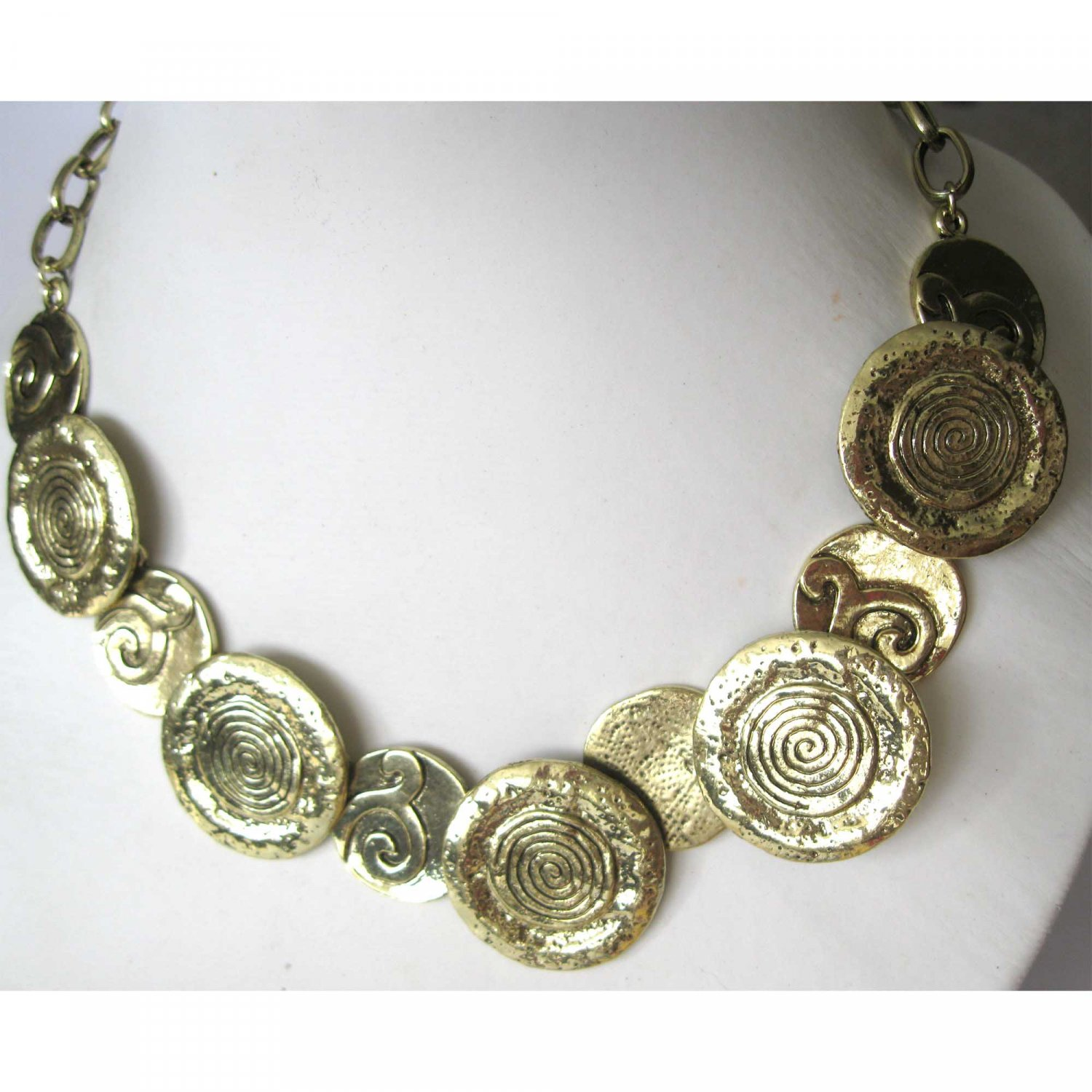 Gold circles trendy fashion statement necklace