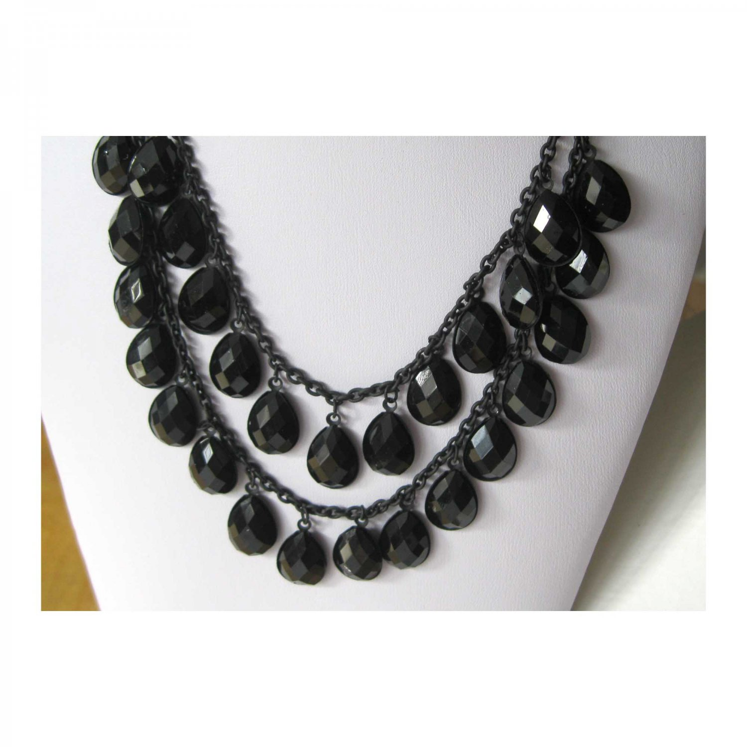 Black double rows hot trendy  fashion statement necklace