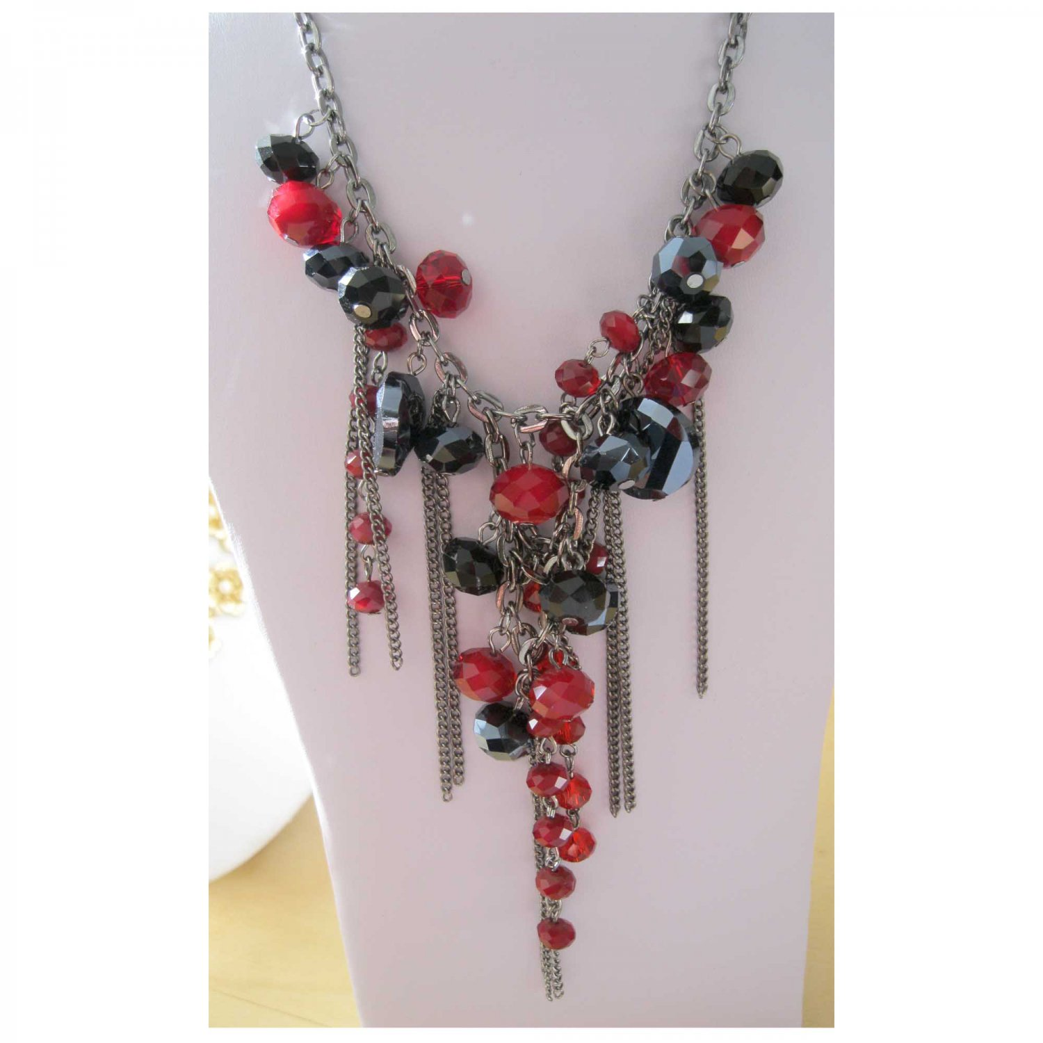Red and black fashion necklace with chains (1485N) Hot trendy jewelry