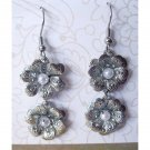 Silver double flowers fashion trendy drop earrings (1533E)