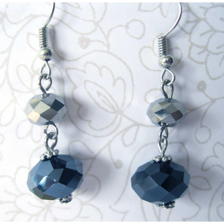Fashion black gray faceted glass drop earrings - 1534/5E