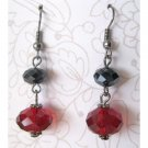 Red and black faceted glass fashion drop earrings - 1536e