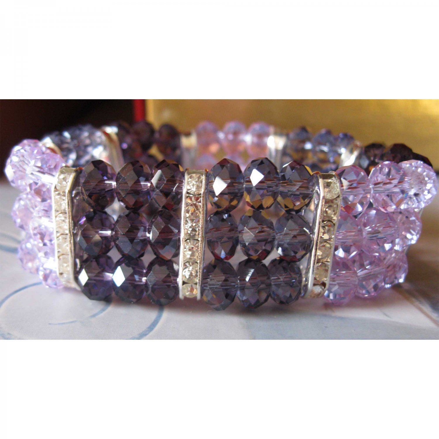 Three rows purple lavender glass with crystals slip on bracelet {1473B}