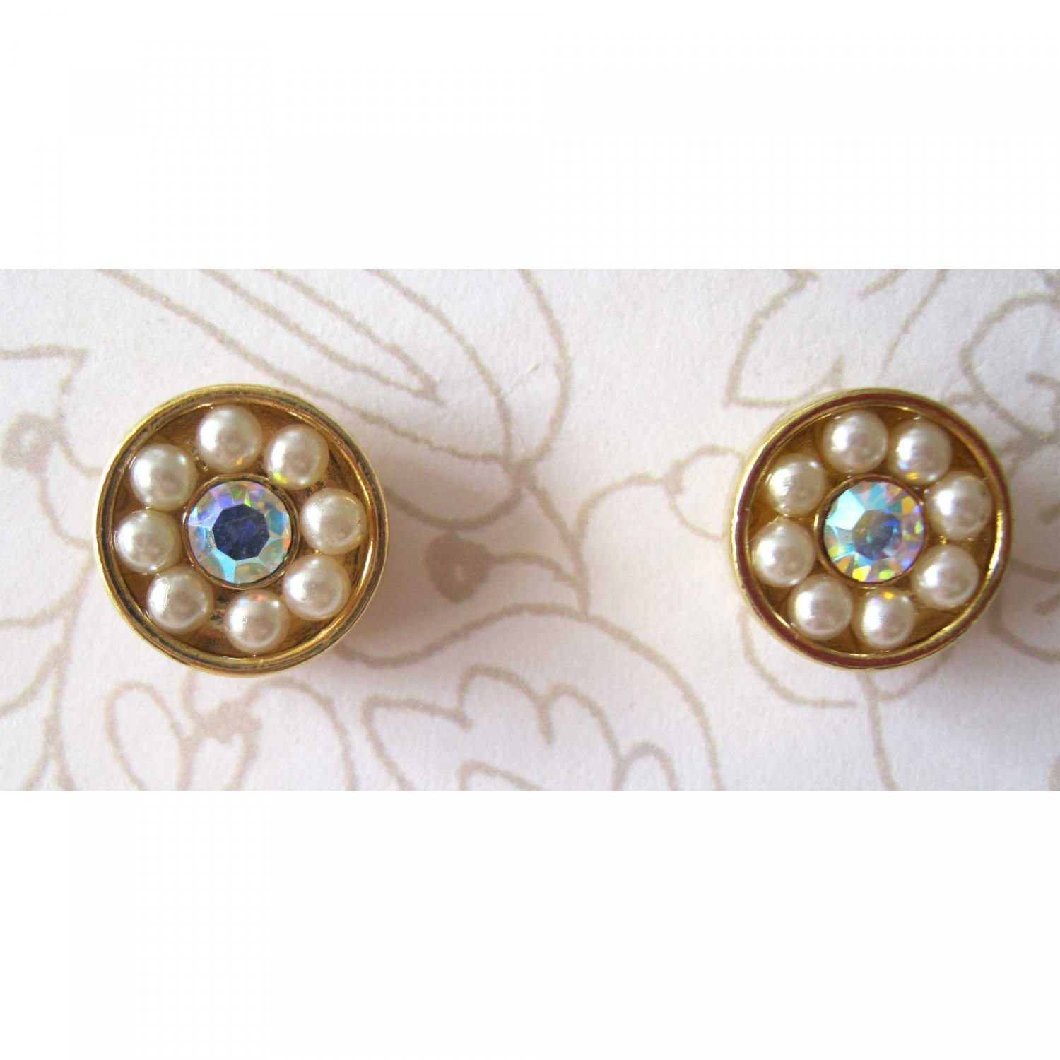 Faux pearl gold button earrings with aurora borealis crystal center{1512e}
