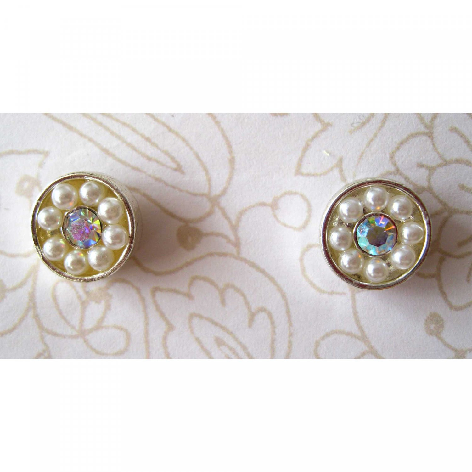 Pearl silver stud earrings with aurora borealis crystal center {1513e}