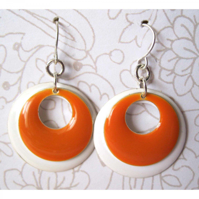 Orange and white circles fashion drop earrings [1515E]