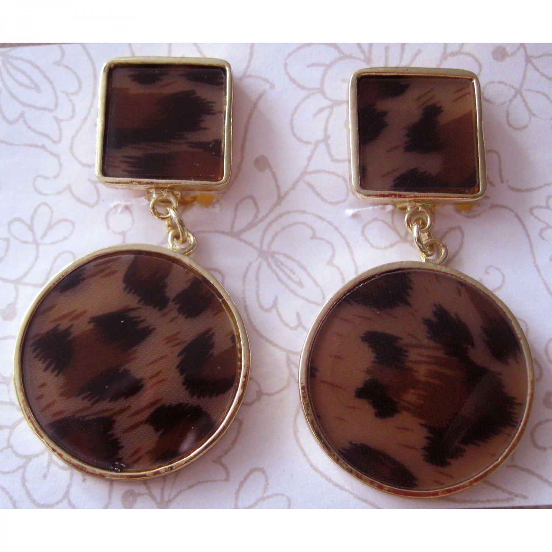 Animal print clip on fashion drop earrings  [1510e]