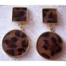 Animal print clip on fashion drop earrings  [1510e]