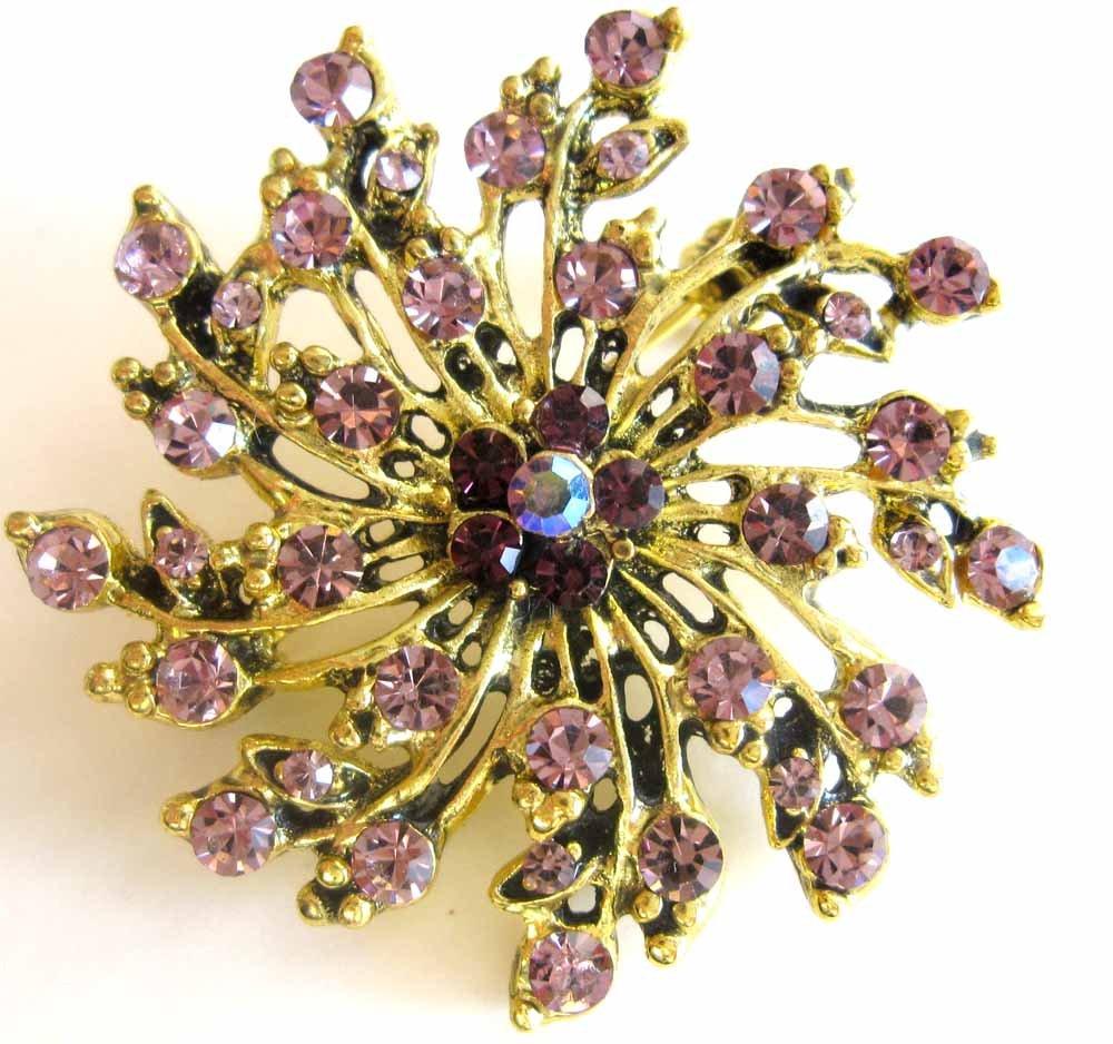 Lavendar and purple crystals starburst fashion pin