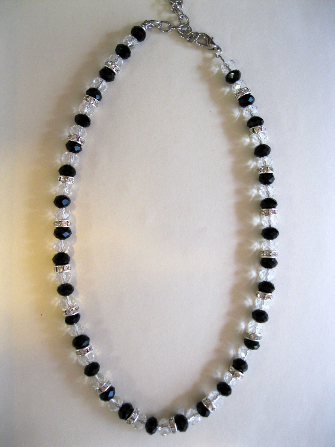 Black faceted glass with crystal accents fashion necklace - 1207N