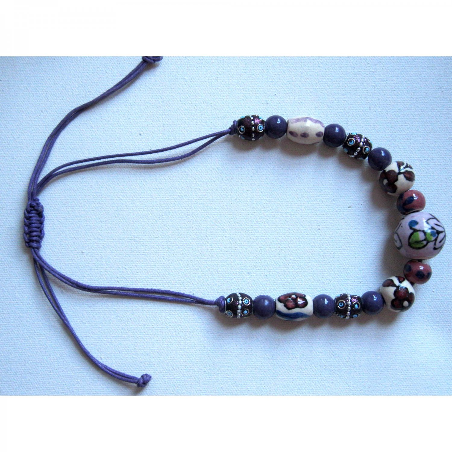 Purple ceramic necklace with flowers - adjustable good luck Jewelry Trends