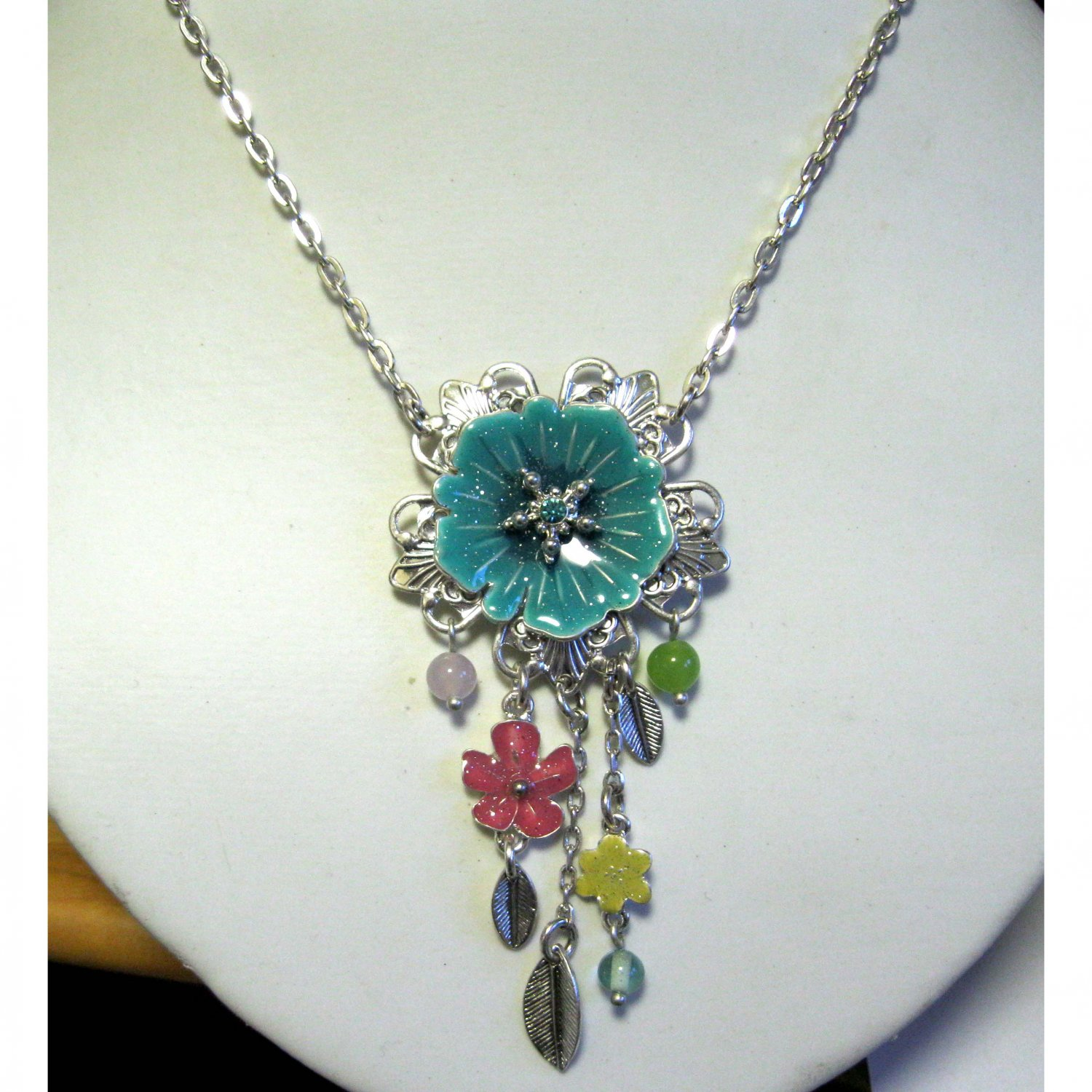 Turquoise flower trendy fashion necklace - {1634N}