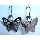 Silvertone butterfly earrings