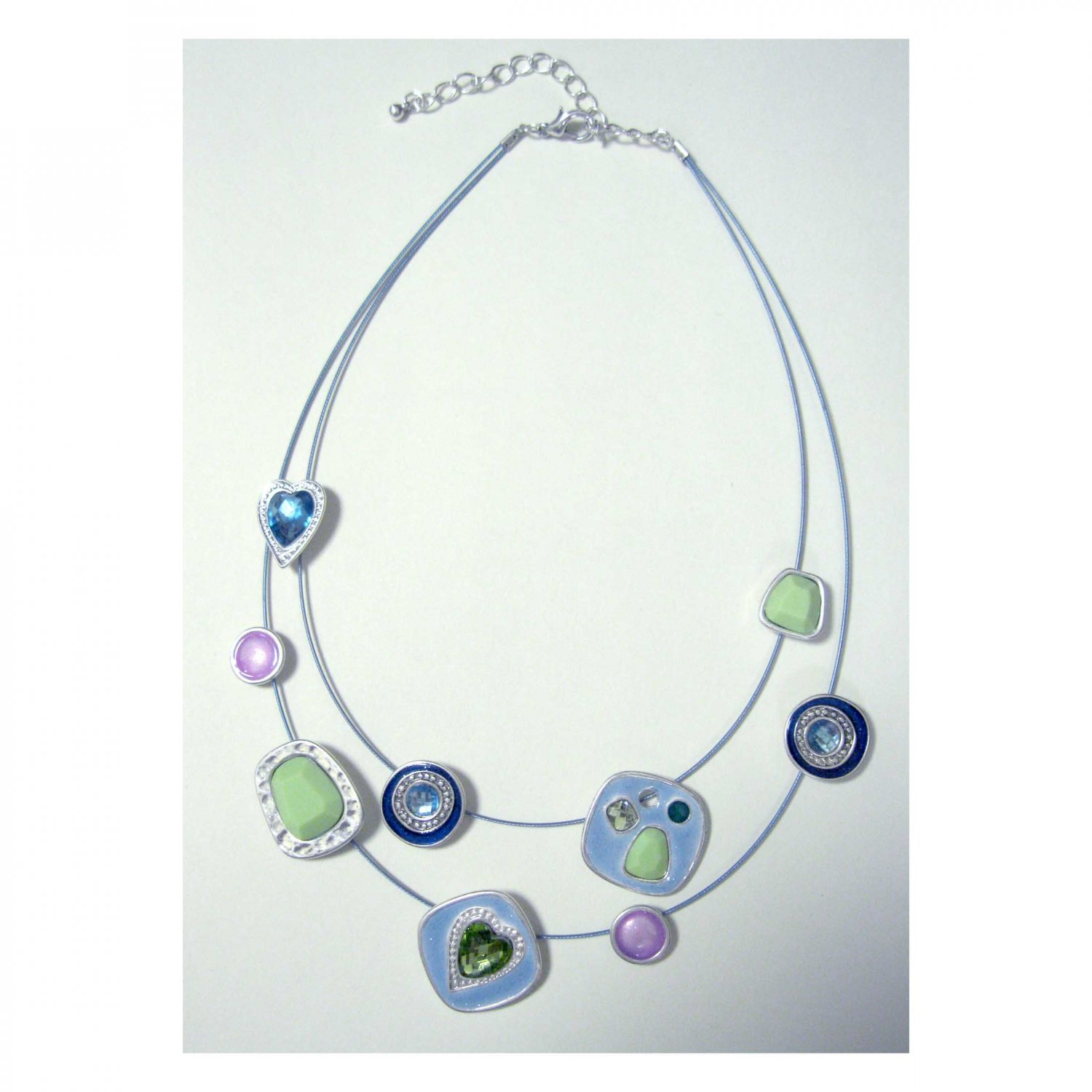 On Sale: Double row pastels statement fashion necklace in blue pink and green