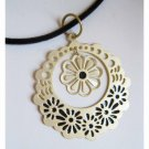 ON SALE: Gold flower trendy fashion pendant with free velvet cord