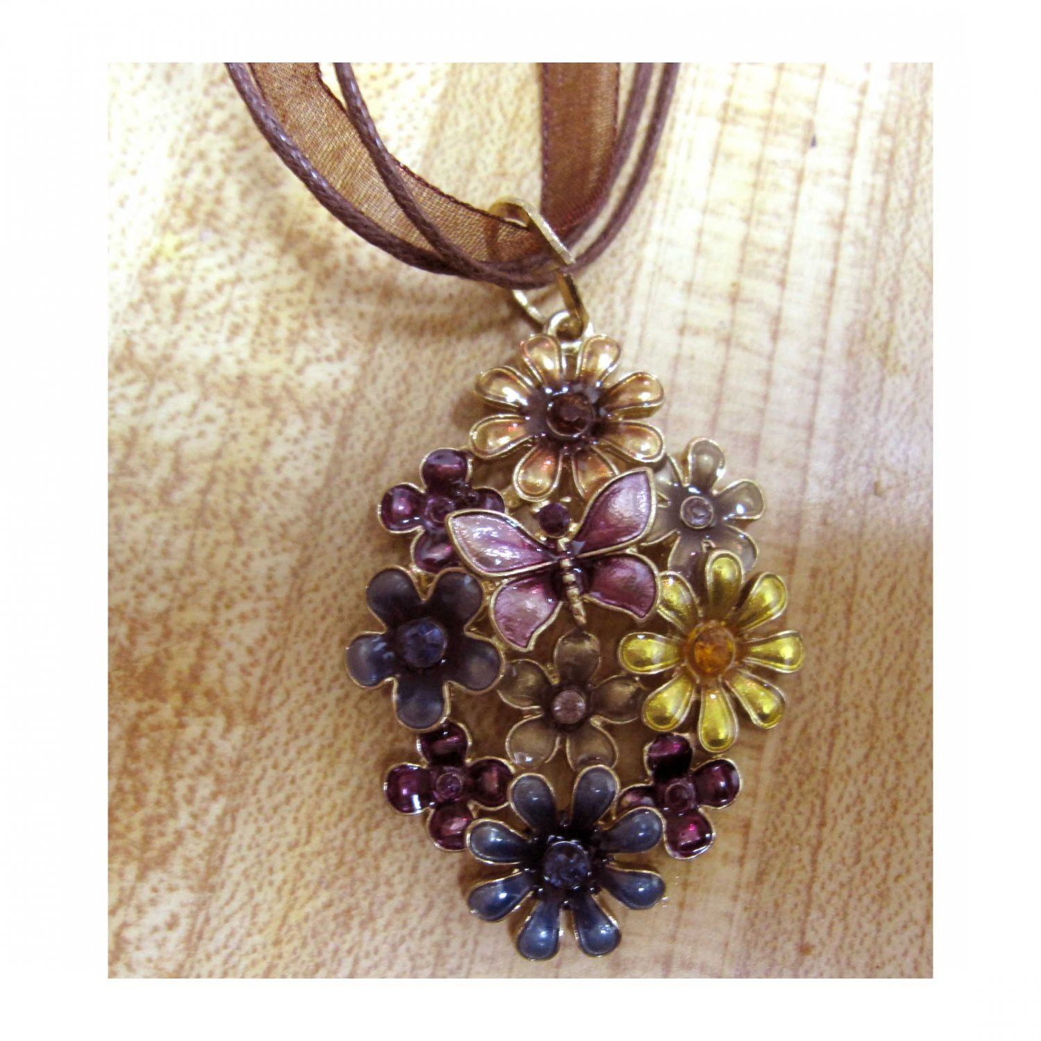 Flowers and butterfly pendant on organza cord necklace