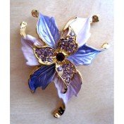 Pink lavender flower pin with crystals - trendy and fashionable