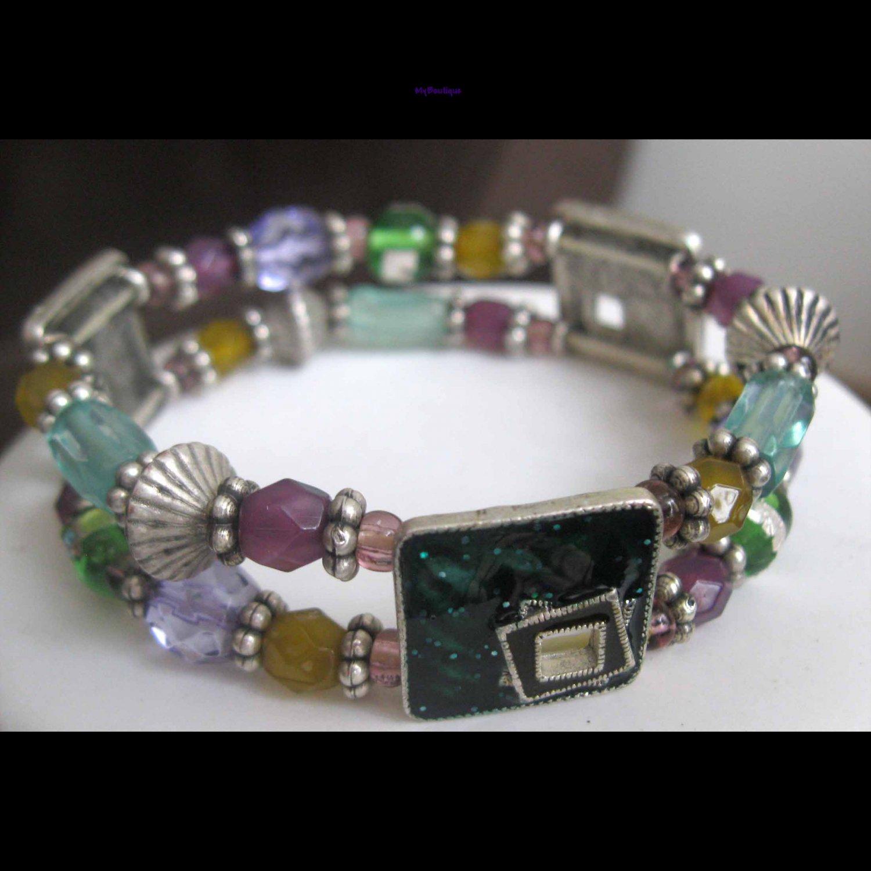 Slip on double row fashion bracelet green silver purple