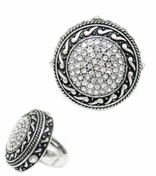 ON SALE: Fashion statement black silver crystals slip on ring