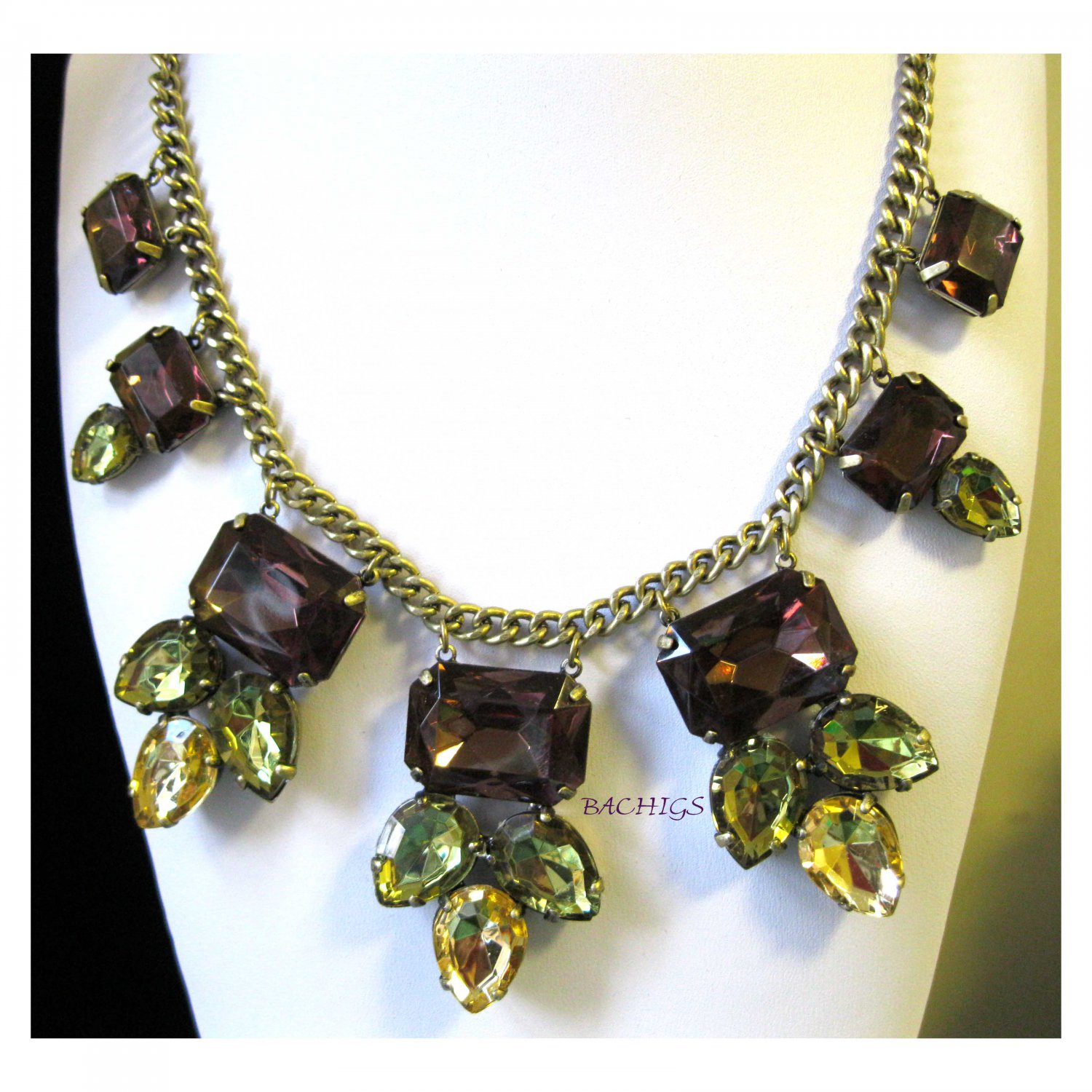 Browns and yellows adjustable statement fashion necklace