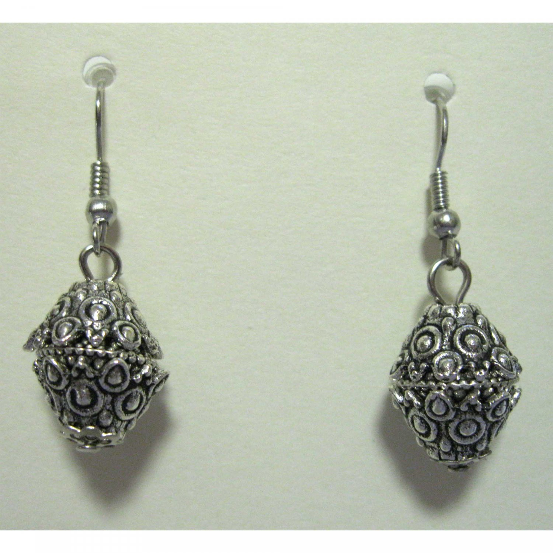 Silver drop fashion earrings {1695E}