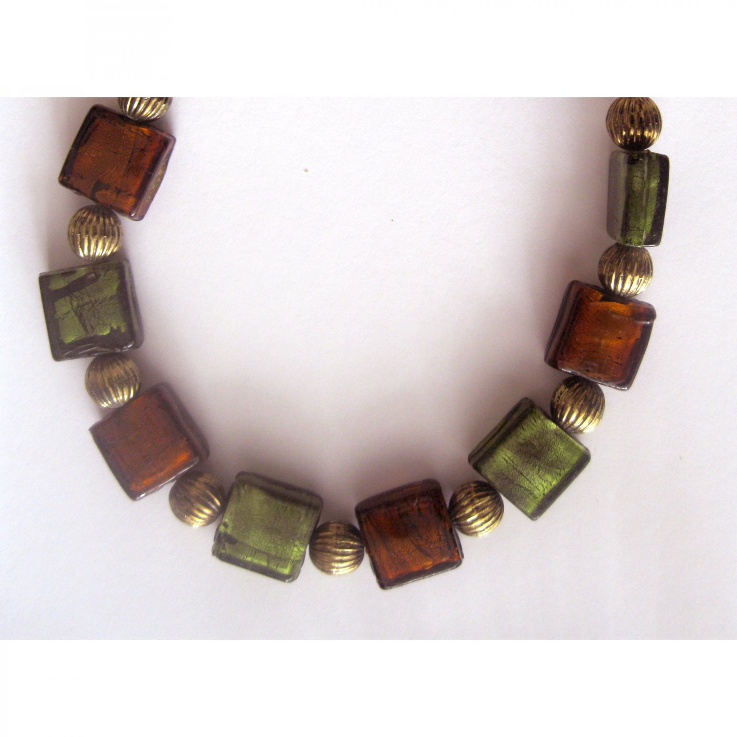Green and brown glass fashion necklace {2361N}