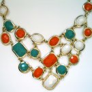 Orange white and blue necklace fashion statement jewelry