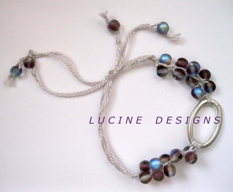 Blue purple macrame trendy fashion bracelet