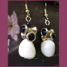 On SALE: Black and white mother of pearl drop earrings