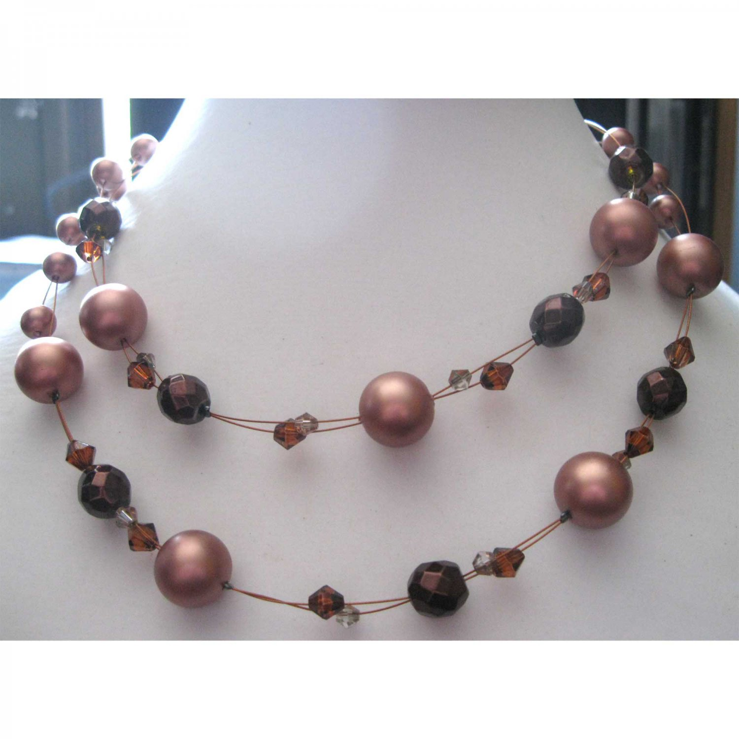 ON SALE: Double row brown fashion necklace