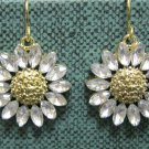 Sunflower drop fashion earrings with crystals {1219E}
