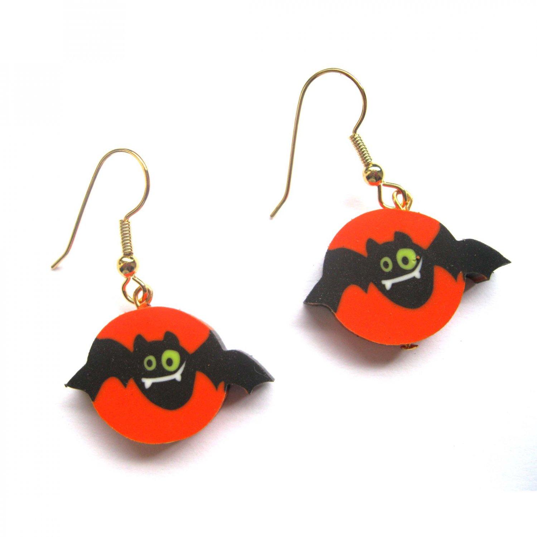 Halloween drop fashion earrings bat black orange