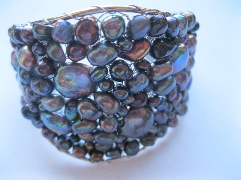 Purple wirework fresh water pearls fashion cuff bracelet