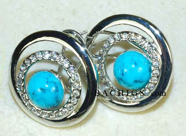 Turquoise sterling silver earrings with white topaz