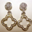 Fashion good luck clover crystals drop earrings
