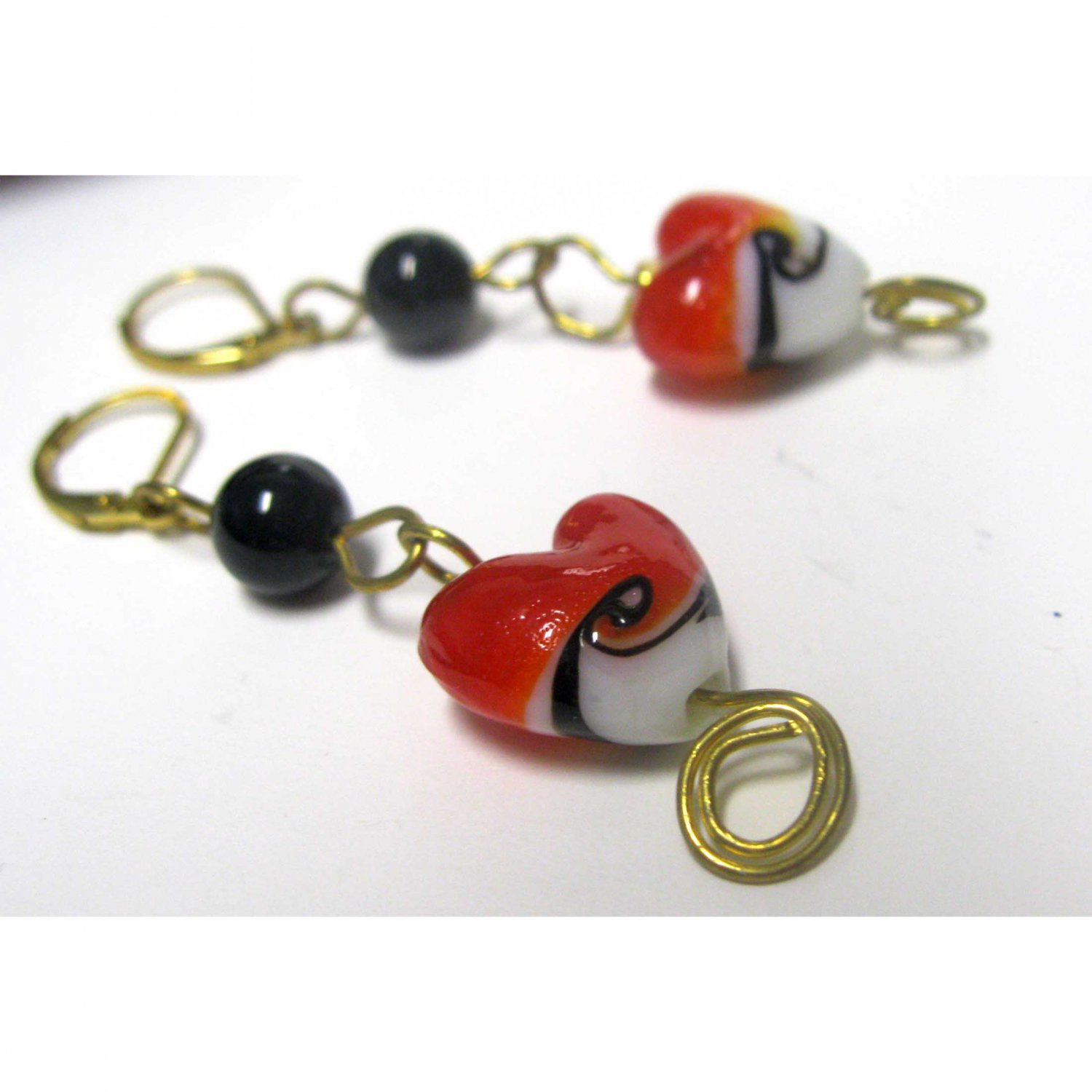 Red heart lampwork with onyx drop fashion wirework earrigns