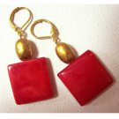 Good luck - red square mother of pearl fashion drop earrings