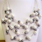 Multi-strand fashion pearl necklace