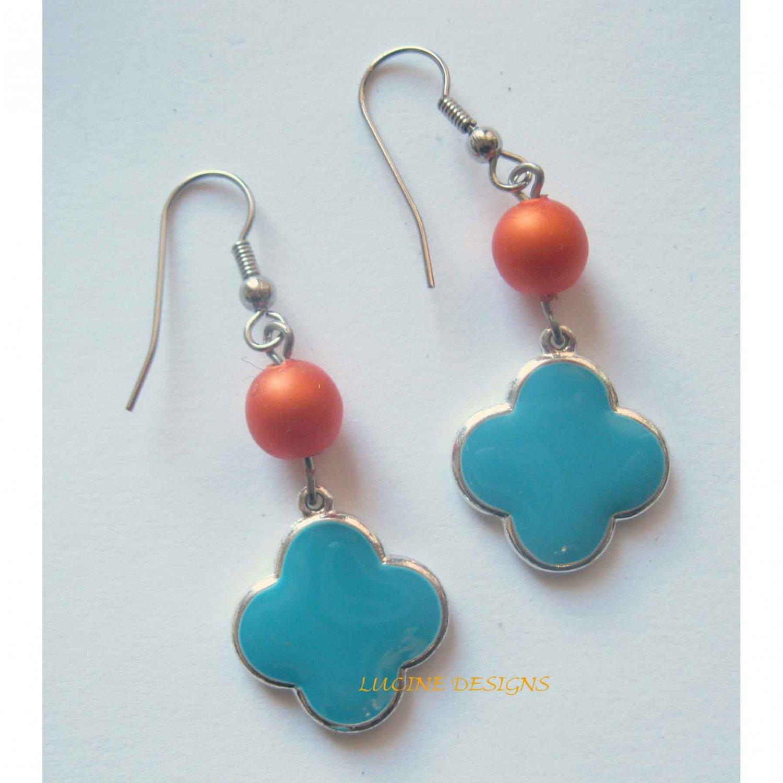 Blue clover drop earrings with orange