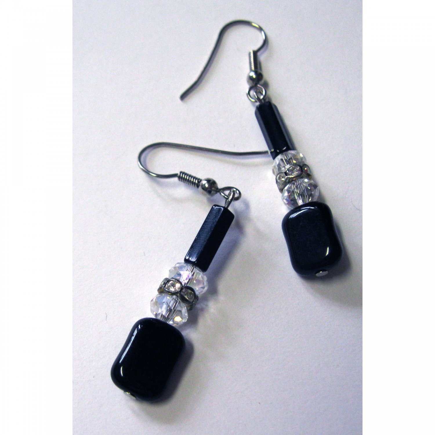 Black drop fashion earrings with crystals